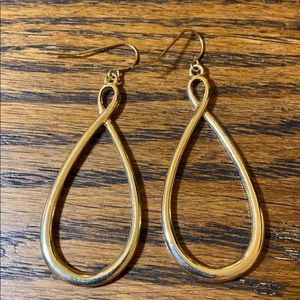 Gold Tone Teardrop Hoop Dangle Pierced Earrings